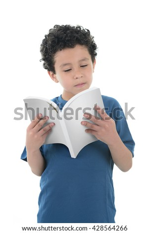 Youg Boy Reading with Concentration Isolated on White Background - stock photo