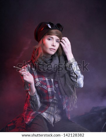 Youn? woman in young hoodlum image - stock photo