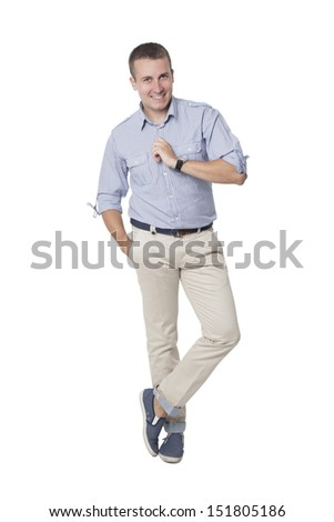 youneg businessman standing isolated - stock photo