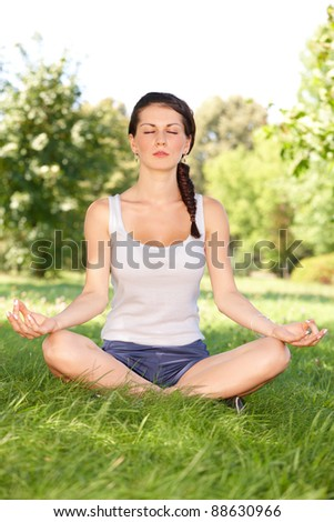 Younf caucasian woman doing youga exercise outside in the park - stock photo