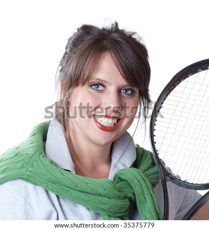 Young active woman with a tennis racquet; close-up portrait; isolated on a white background. - stock photo