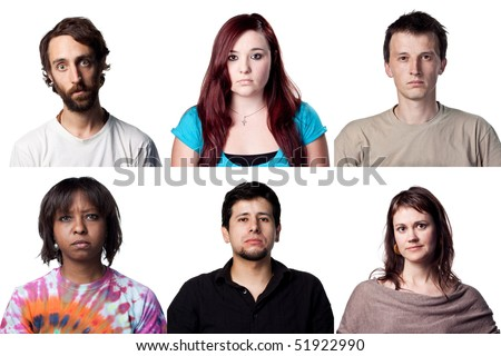 Young actor performing many different roles - stock photo