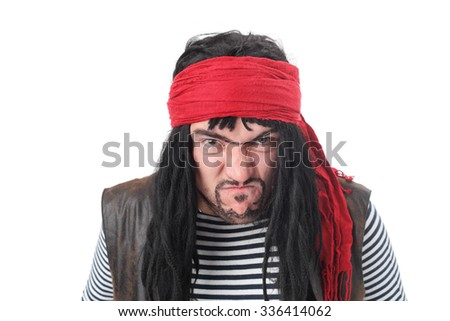 young actor playing pirate closeup