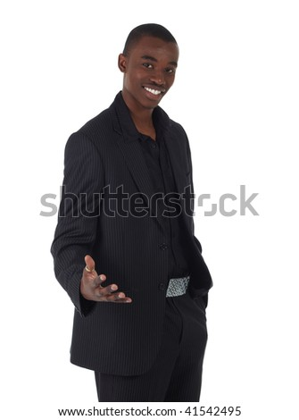 Young Adult black african businessman wearing a dark smart-casual suit and Jacket on a white background in various poses with various facial expressions. Part of a series, Not Isolated.