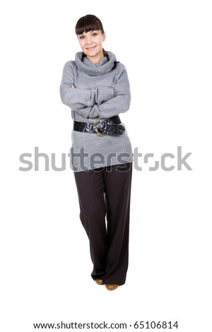 young adult brunette woman over white background - stock photo