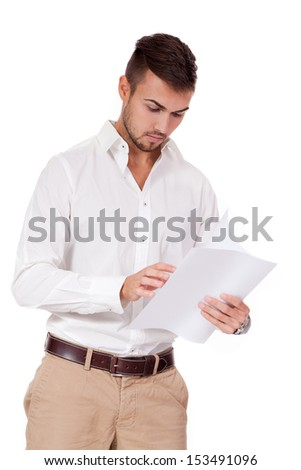 young adult businessman reading document letter isolated on white background