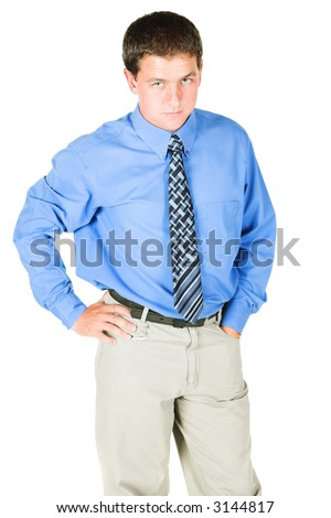 Young adult businessman standing with a serious look/expression on his face. He is in office wear, and is isolated on white so that he can be added to composition images with copy space. - stock photo