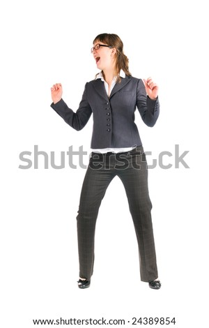 young adult  businesswoman on a white background, dancing