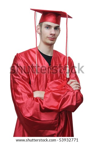 Young adult. Can be a highschool, college, or university student. He is isolated on white background with his arms folded in front of him smiling. - stock photo