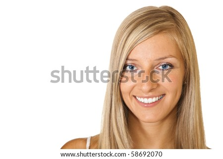 Young adult caucasian blond tan woman portrait on white background