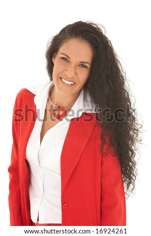 Young adult Caucasian businesswoman wearing a red suit with long brown hair. NOT ISOLATED