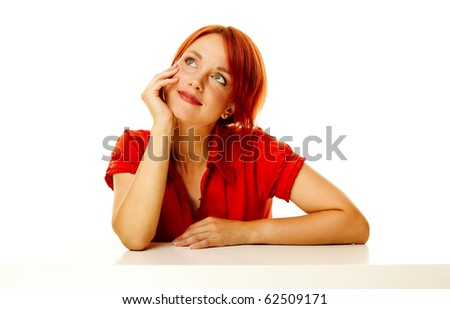 young adult caucasian woman over white background - stock photo