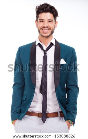young adult dressed up with smile - stock photo