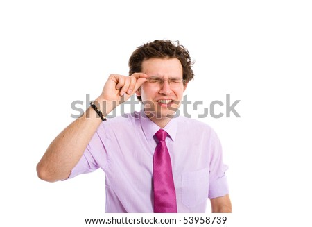 young adult male is blinded by his own success, with closed eyes holds his glasses, all isolated on white background - stock photo