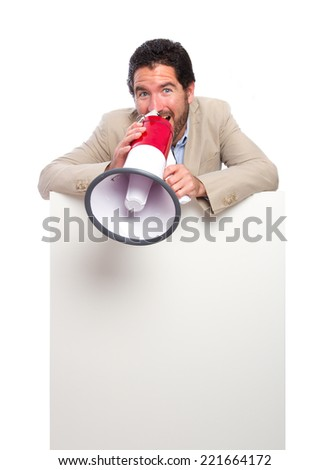 young adult man with a placard and a megaphone - stock photo