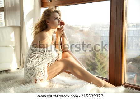 Young adult slim sexy and attractive blonde woman in sweater against the window - stock photo