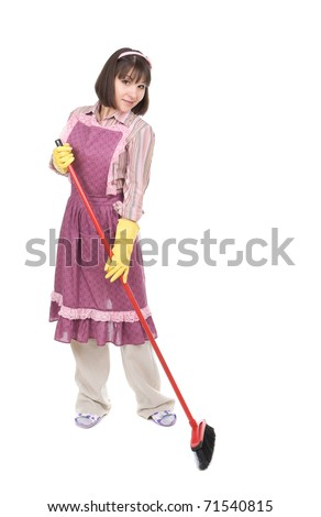 young adult woman doing housework. over white background