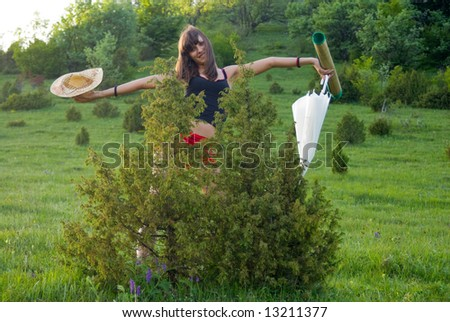 Young adult woman spend her time in nature