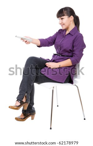 young adult woman watching tv. over white background