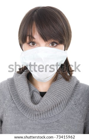 young adult woman with medic mask - stock photo