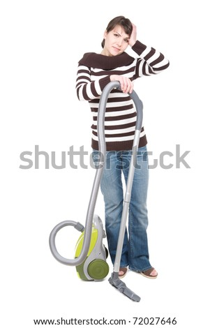 young adult woman with vacuum . over white background - stock photo