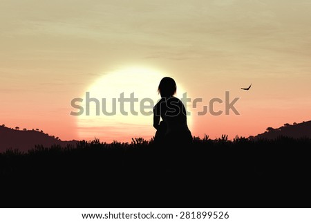 Young Adult Women Sitting on a Hilltop enjoying peaceful harmony with nature in the Sunset Sunrise 3D ArtworkConcept of meditation, relaxation, yoga, romance, and natural beauty. - stock photo