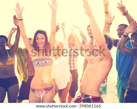 Young Adults Having Beach Party In Summer Concept - stock photo