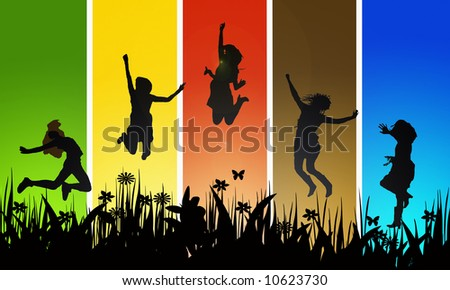 young adults jumping - illustration - stock photo