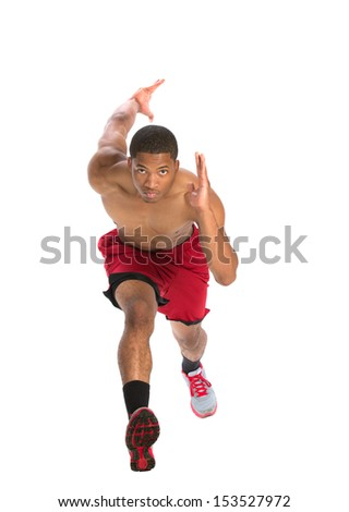 Young African American Athlete Sprinting Isolated on White Background - stock photo