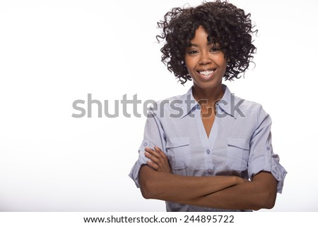 Young African American black woman smile happy face portrait - stock photo