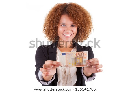 Young african american business woman holding a euro bill, isolated on white background - African people