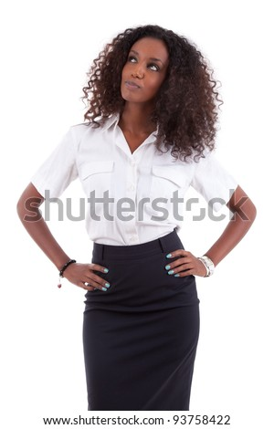 Young african american business woman looking up, isolated over white background - stock photo