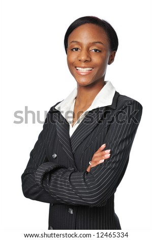 Young African American Businesswoman smiling isolated on white
