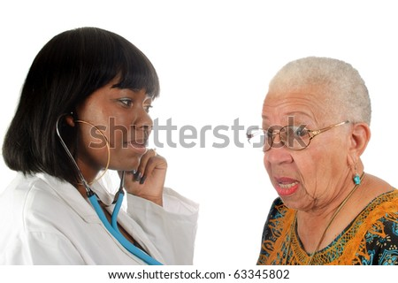young african american doctor checking elderly patients heartbeat, isolated on white background