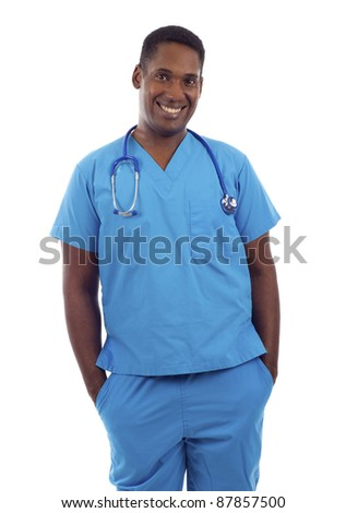 Young African American doctor in scrubs with hands in pockets isolated on white - stock photo