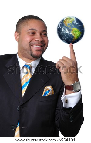 Young African American entrepreneur with earth on his finger.