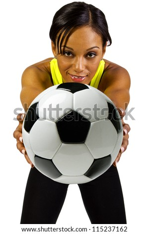 Young African American Female Soccer Player - stock photo