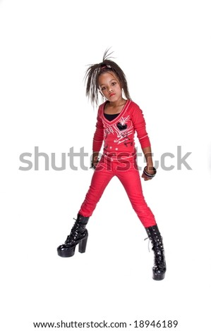 Young African American Girl Dressed Red Stock Photo