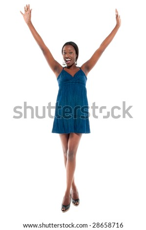 Young african american girl very happy arms up and smiling, - stock photo
