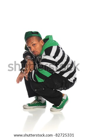 Young African American hip hop dancer isolated over white background - stock photo