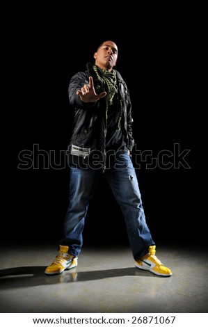 Young African American hip hop dancer performing - stock photo