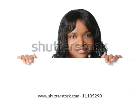 Young African American holding blank sign - stock photo