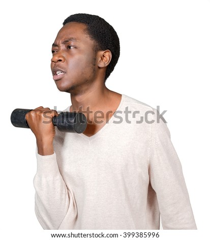 Young African American Holding Lifting Dumbbell