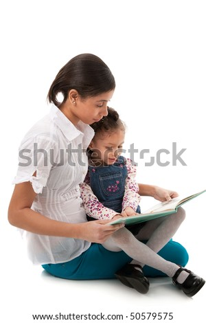Young African American Lady and Little Girl Reading Book Together on Isolated White background - stock photo