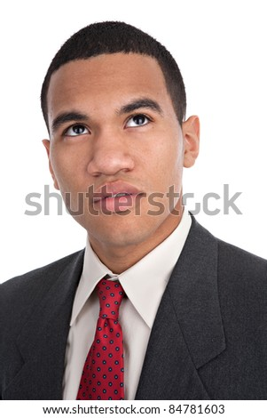 Young African American Male Portrait on Isolated Background - stock photo