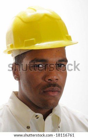 young African American man in a hardhat - stock photo