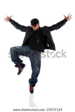 Young African American performing hip hop dancing - stock photo