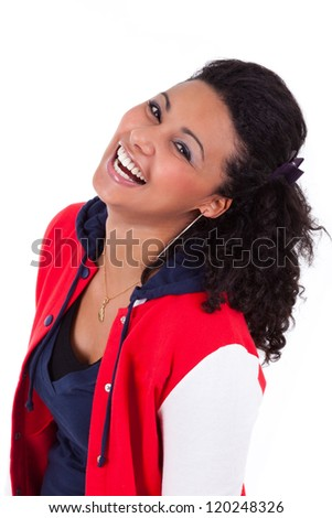 Young African American teenage girl laughing, isolated on white background