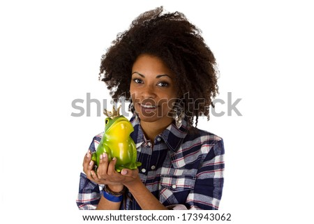 Young african american with frog prince - isolated on white background - stock photo