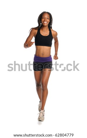 Young African American woman running isolated over white background - stock photo